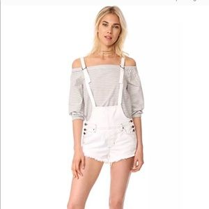 We the Free/Free People Off White Overalls 25